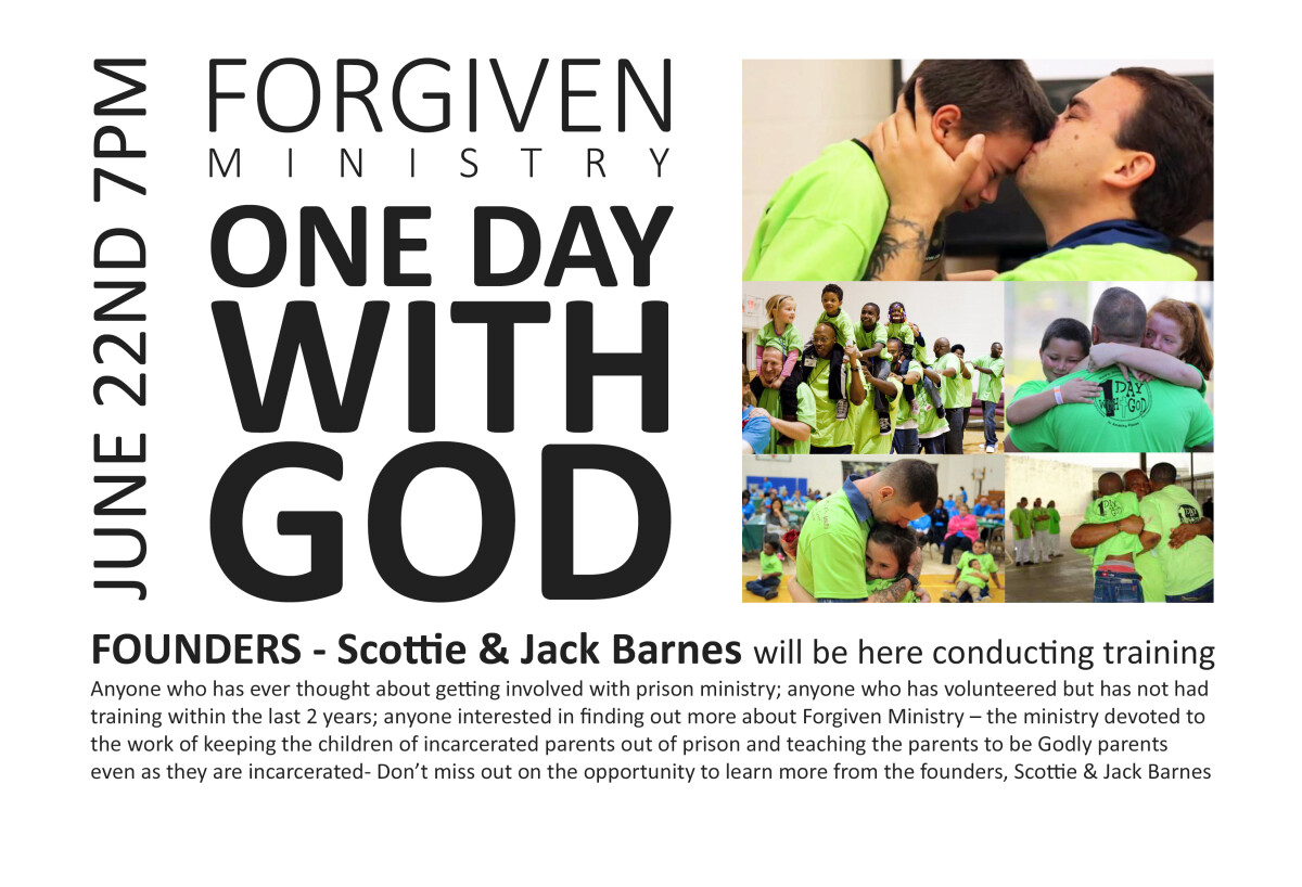 Forgiven Ministry ONE DAY WITH GOD Training